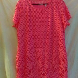 Gorgeous designer pink lace dress